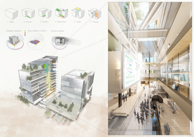 sustainable office building. 1 Semester, 2011, Sustainable Office Building Competition, Grand Prize Location L Bundang Gu, GyeongGI Do, Korea Tutor Jinsoo Chung D