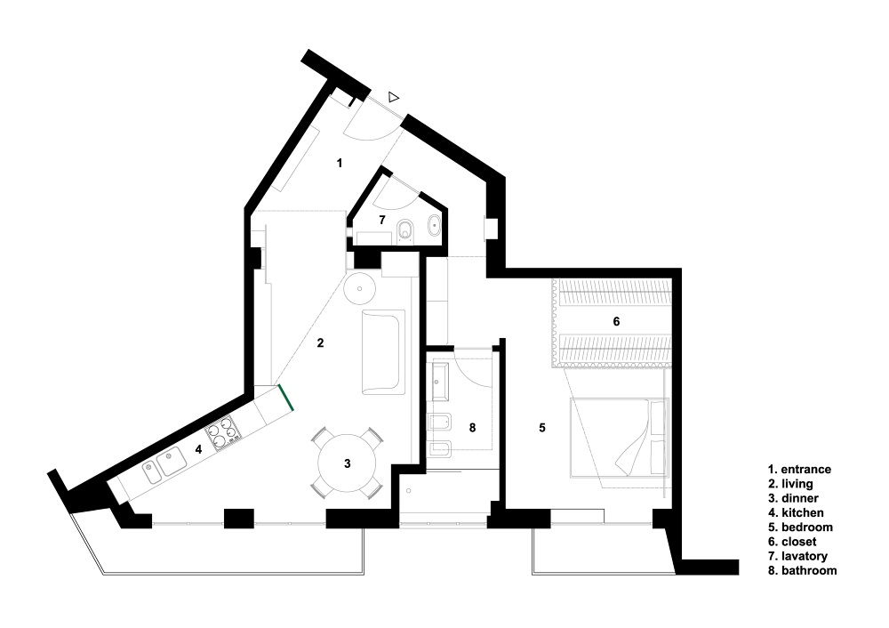 La parete verde / Apartment renovation - Saverio Incombenti designer